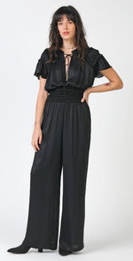 Current Air, Women - Rompers,  Black Smocked Waist Jumpsuit