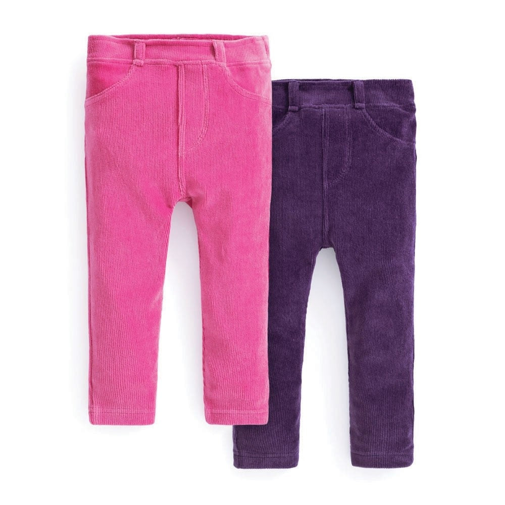 Jojo Maman Bebe 2-Pack Girls' Jersey Cord Jeggings-Baby Girl Apparel - Leggings-Jojo Maman Bebe-18-24M-Fuchsia/Purple-Eden Lifestyle
