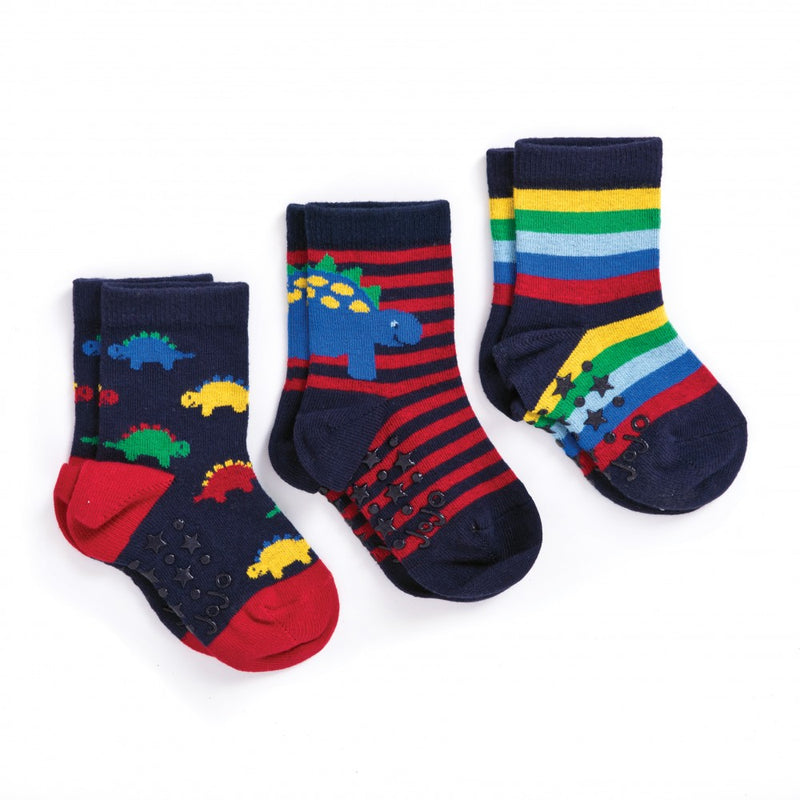 3-Pack Dinosaur Cotton Socks