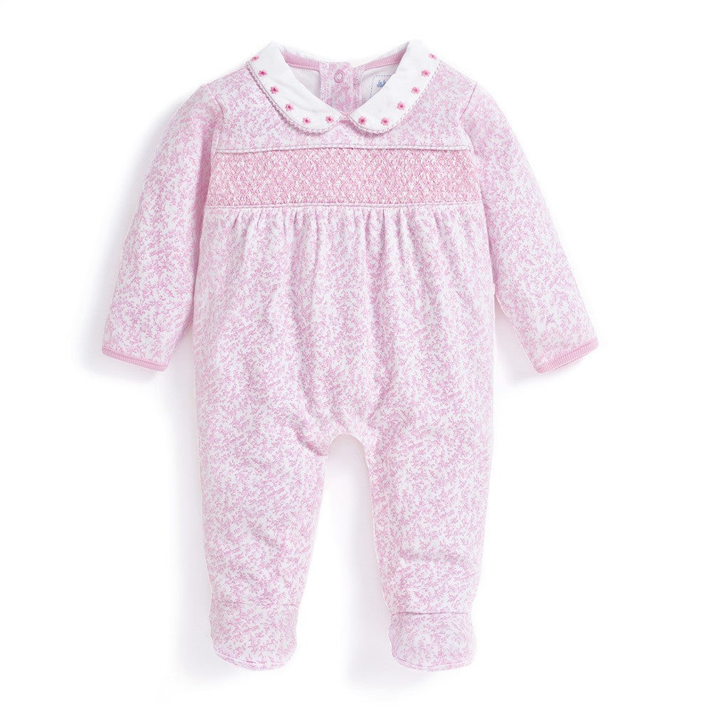 Pink Smocked Baby Footie-Baby Girl Apparel - One-Pieces-Jojo Maman Bebe-Newborn-Eden Lifestyle