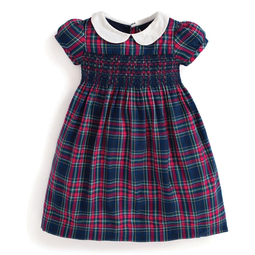 Smocked Plaid Party Dress