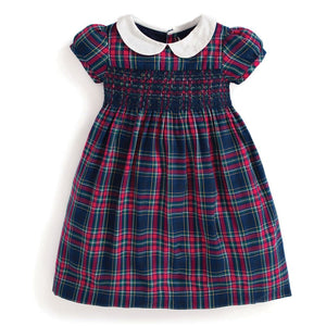 Smocked Plaid Party Dress-Baby Girl Apparel - Dresses-Jojo Maman Bebe-18-24M-Eden Lifestyle