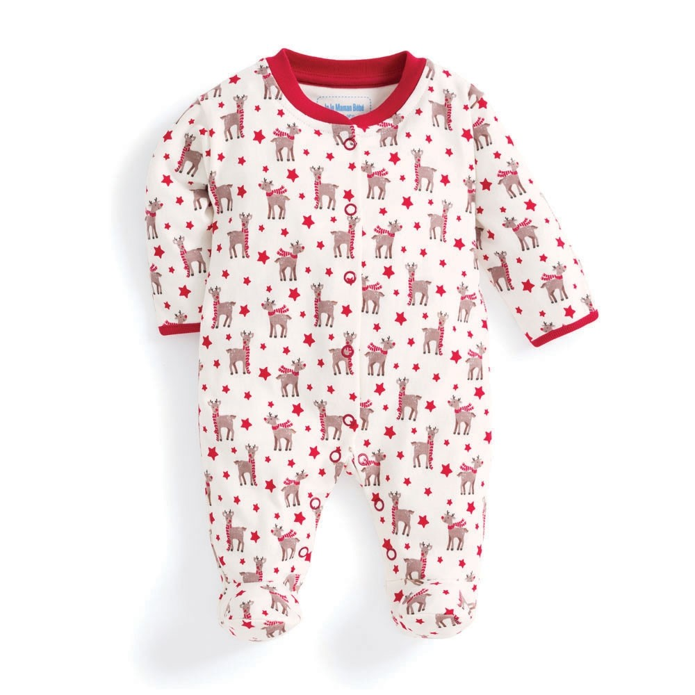 Reindeer Print Baby Footie-Baby Boy Apparel - One-Pieces-Jojo Maman Bebe-Newborn-Eden Lifestyle