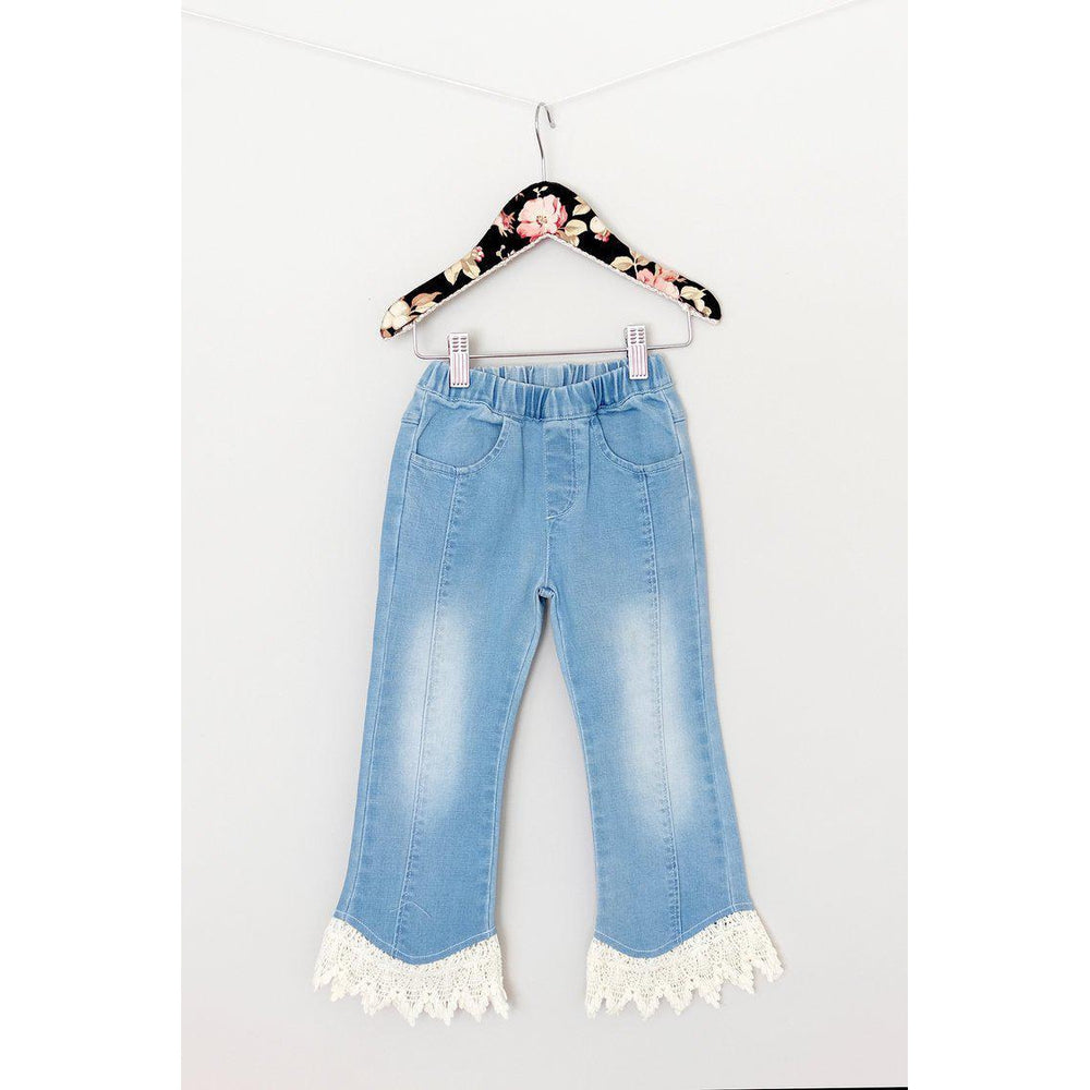 Mae Li Rose, Girl - Pants,  Mae Li Rose Crochet hem Denim