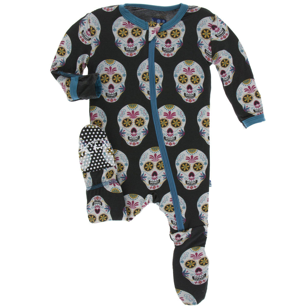 KicKee Pants - Footie w/Zipper Dia De Los Muertos-Baby Girl Apparel - One-Pieces-KicKee Pants-0-3M-Eden Lifestyle