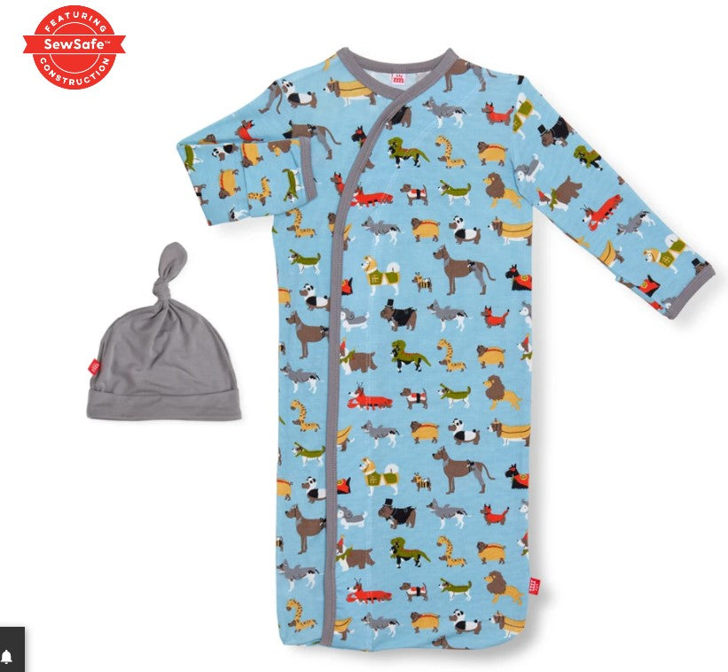 Magnificent Baby, Baby Boy Apparel - Pajamas,  Magnetic Me In-dog-nito modal magnetic sack gown + hat set
