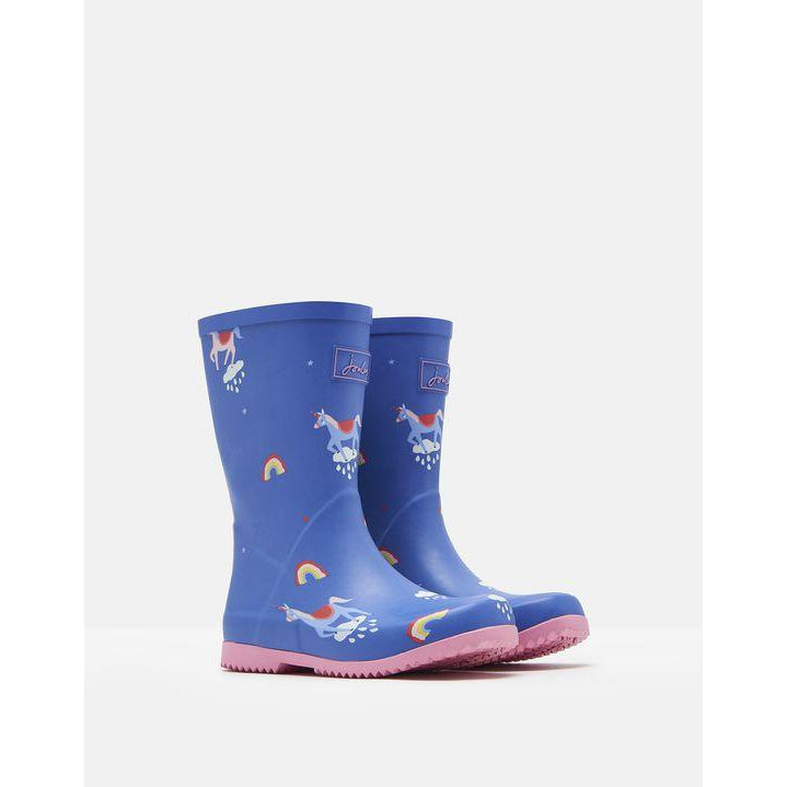 Joules Roll Up Blue Unicorn Rain Boots-Shoes - Girl-Joules-9-Eden Lifestyle
