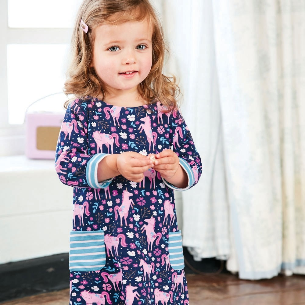 Jojo Maman Bebe Unicorn Print A-Line Dress-Baby Girl Apparel - Dresses-Jojo Maman Bebe-18-24M-Eden Lifestyle
