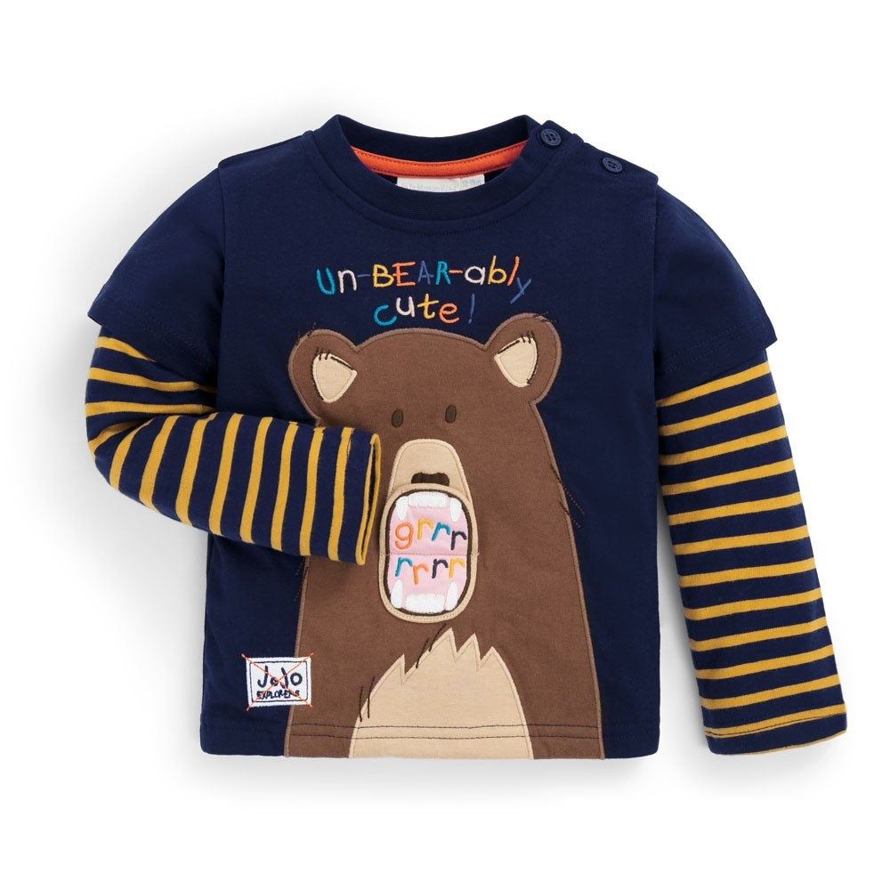 Navy Bear Applique Top-Tees-Jojo Maman Bebe-18-24M-Eden Lifestyle