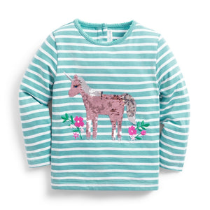 Jojo Maman Bebe, Girl - Shirts & Tops,  Unicorn Sequin Top