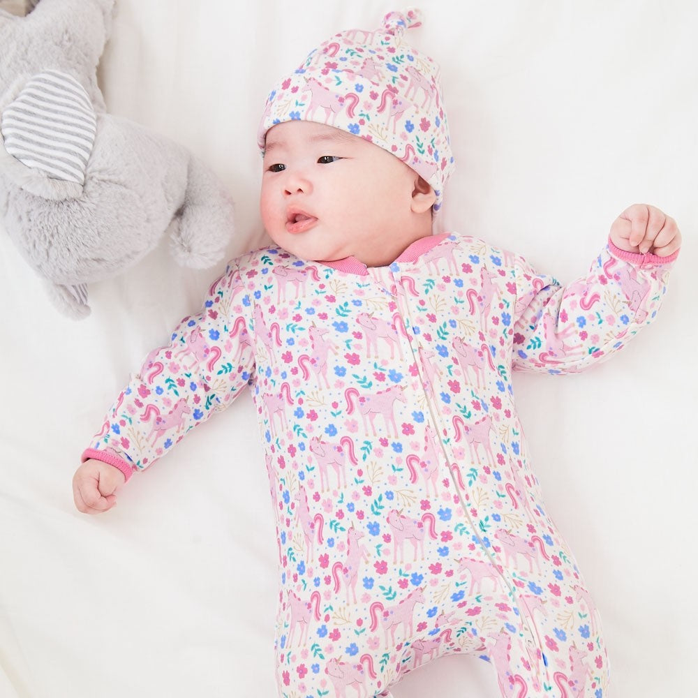 Pink Unicorn Zipper Baby Footie