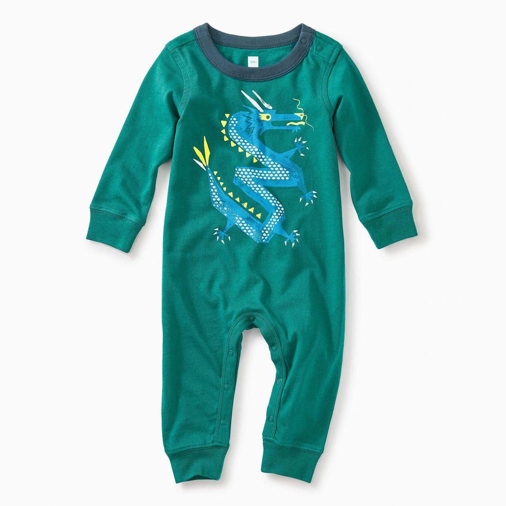 Zig Zag Dragon Graphic Romper-Baby Boy Apparel - Rompers-Tea Collection-0-3M-Eden Lifestyle