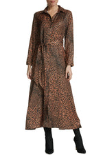 Brown Leopard Dress with Tie Waist
