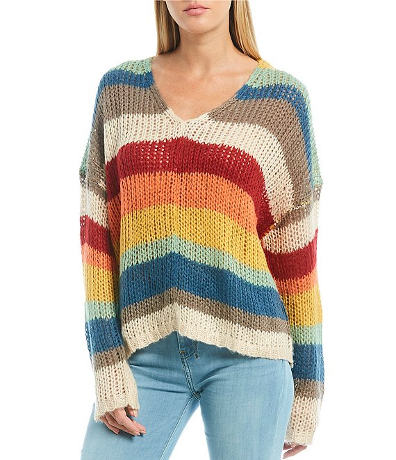 Rainbow Stripe V-Neck Sweater