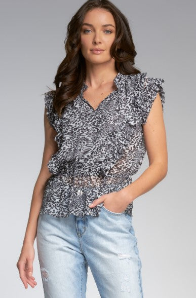 Black & White Animal Print Top - Eden Lifestyle