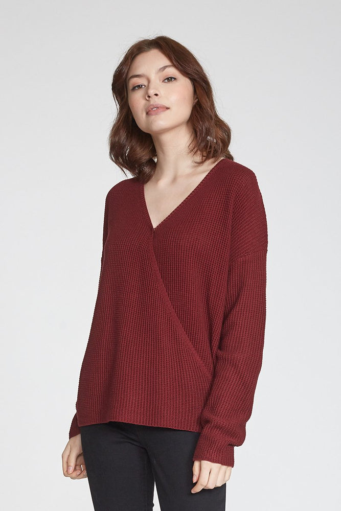 Ellie Wrap Front Sweater - Bordeaux