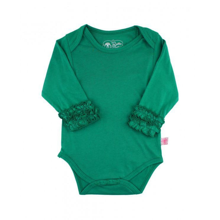 Emerald Ruffled Long Sleeve Onesie-Baby Girl Apparel - One-Pieces-Ruffle Butts-0-3M-Eden Lifestyle