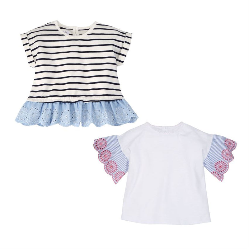 Eyelet Girls Tee-Girl - Shirts & Tops-Mud Pie-Navy Stripe-2/3T-Eden Lifestyle