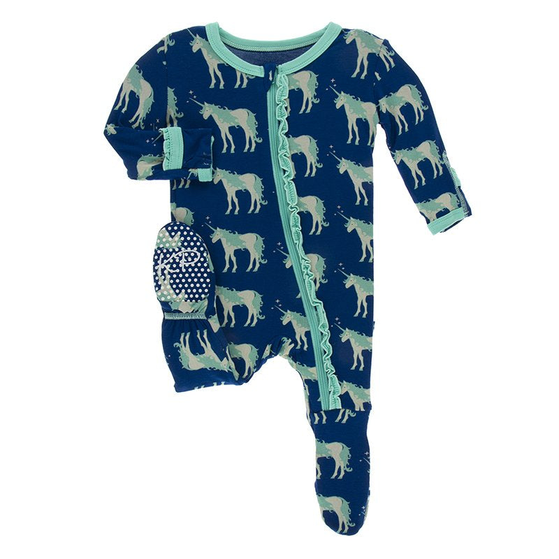 Kickee Pants Print Muffin Ruffle Footie with Zipper in Flag Blue Unicorns