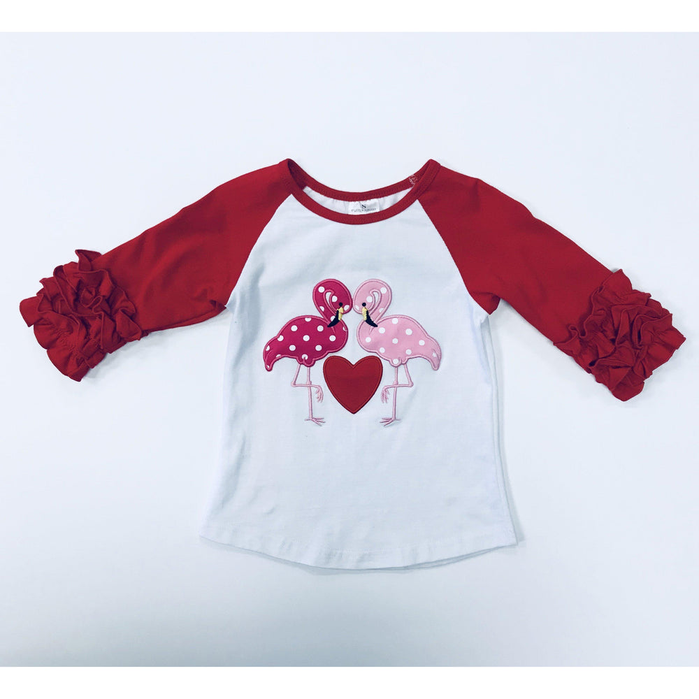 Eden Lifestyle, Girl - Shirts & Tops,  Flamingo Love Ruffle Shirt