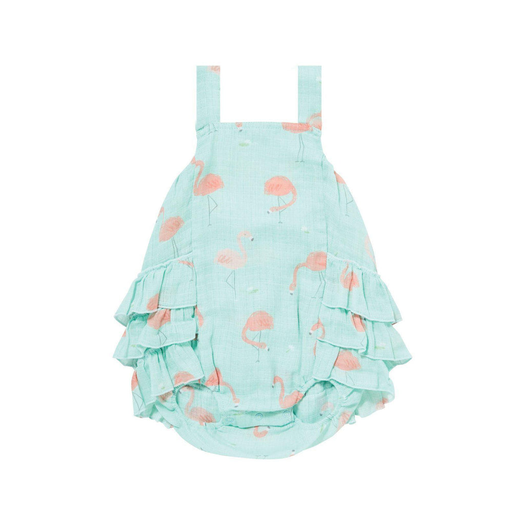 Angel Dear Muslin Ruffle Sunsuit - Flamingo-Baby Girl Apparel - One-Pieces-Angel Dear-0-3M-Eden Lifestyle