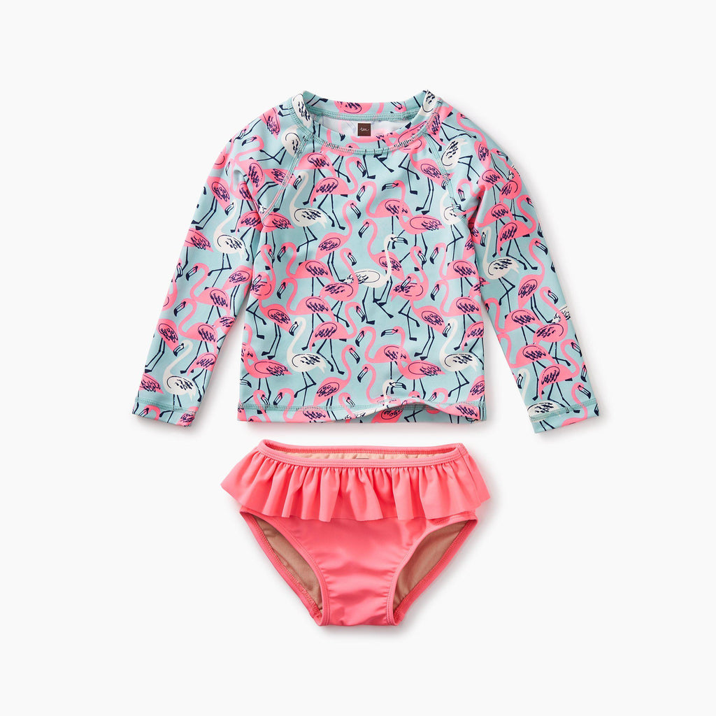 Flamingos Rash Guard Set-Swimsuit-Tea Collection-6-9M-Eden Lifestyle