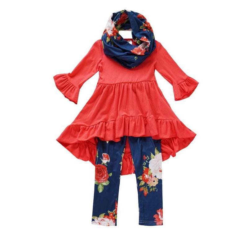 Floral Girls Set-Baby Girl Apparel - Outfit Sets-Eden Lifestyle-4T-Eden Lifestyle