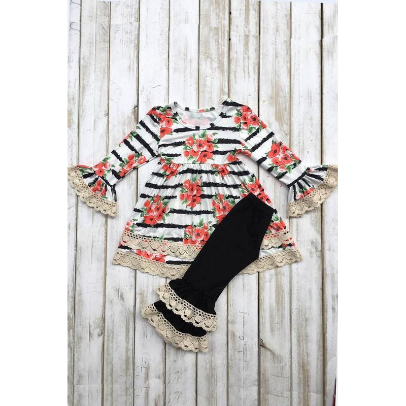 Floral Girls Set-Baby Girl Apparel - Outfit Sets-Eden Lifestyle-2T-Eden Lifestyle