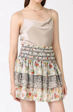 Current Air, Women - Skirts,  Floral Print Mix Tiered Mini Skirt
