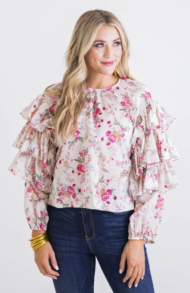 Floral Ruffle Sleeve - Eden Lifestyle
