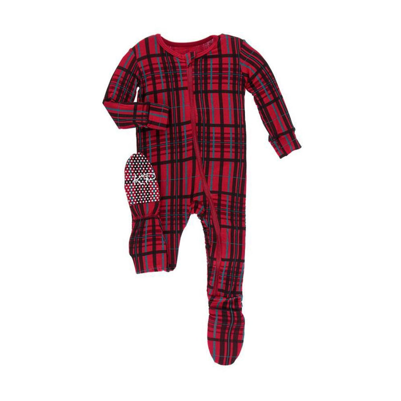 KicKee Pants - Holiday Footie- Christmas Plaid-Baby Boy Apparel - One-Pieces-KicKee Pants-Newborn-Eden Lifestyle