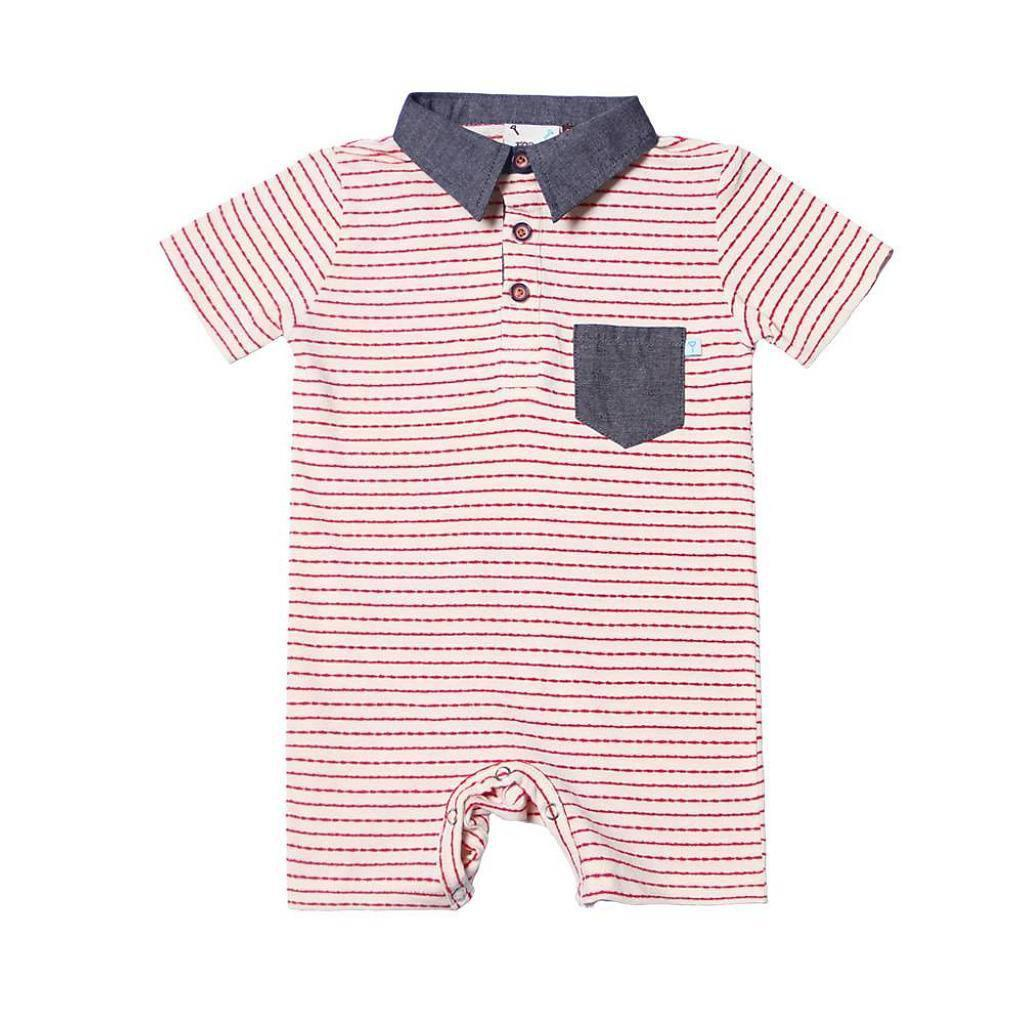 Fore! Axel & Hudson Red Bamboo Stripe Polo Romper-Baby Boy Apparel - Rompers-Fore-6-9M-Eden Lifestyle