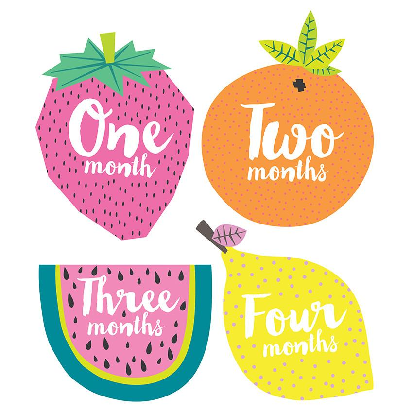 Lucy Darling, Baby - Nursery Organization,  Little Tutti Fruity Monthly Stickers