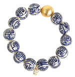 Georgia Blue Chinoiserie Beaded Bracelet - Eden Lifestyle