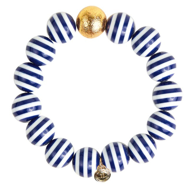 Georgia Navy Stripe Beaded Bracelet - Eden Lifestyle