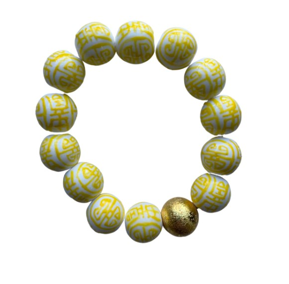 Georgia Yellow Chinoiserie Beaded Bracelet - Eden Lifestyle