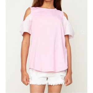 Gigi Pink Ruffled Sleeve Top-Girl - Shirts & Tops-Hayden LA-7-Eden Lifestyle