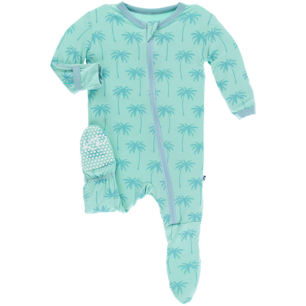 KicKee Pants - Footie w/Zipper Glass Palm Trees-Baby Girl Apparel - One-Pieces-KicKee Pants-0-3M-Eden Lifestyle