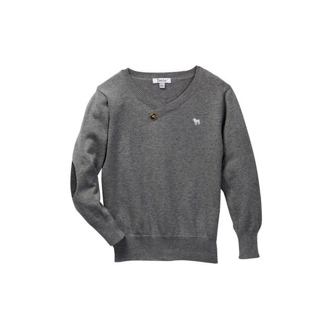 Gray V-neck Sweater-Baby Boy Apparel - Shirts & Tops-Frenchie Couture-6M-Eden Lifestyle