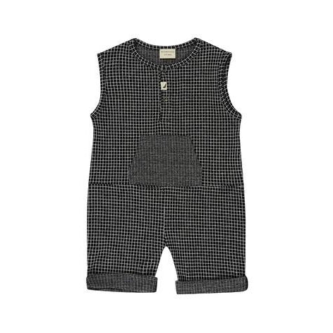 Turtledove London Grid Jersey Shortie All-In-One-Baby Boy Apparel - Rompers-Turtledove London-0-6M-Eden Lifestyle