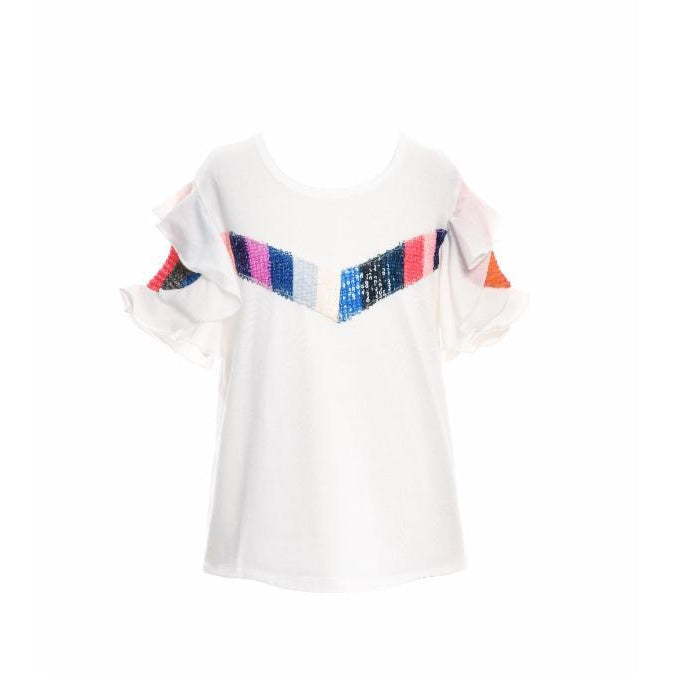 Hannah Banana Rainbow Sequin and Ruffle Sleeve Shirt-Girl - Shirts & Tops-Hannah Banana-4-Eden Lifestyle