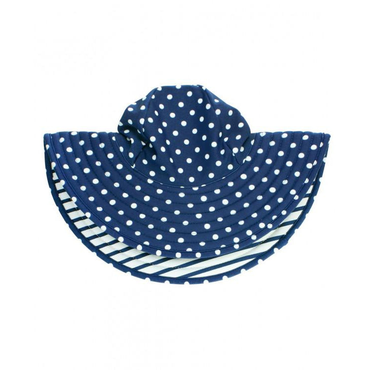 Ruffle Butts, Swimsuit,  Navy Polka and Stripe Reversible Swim Hat