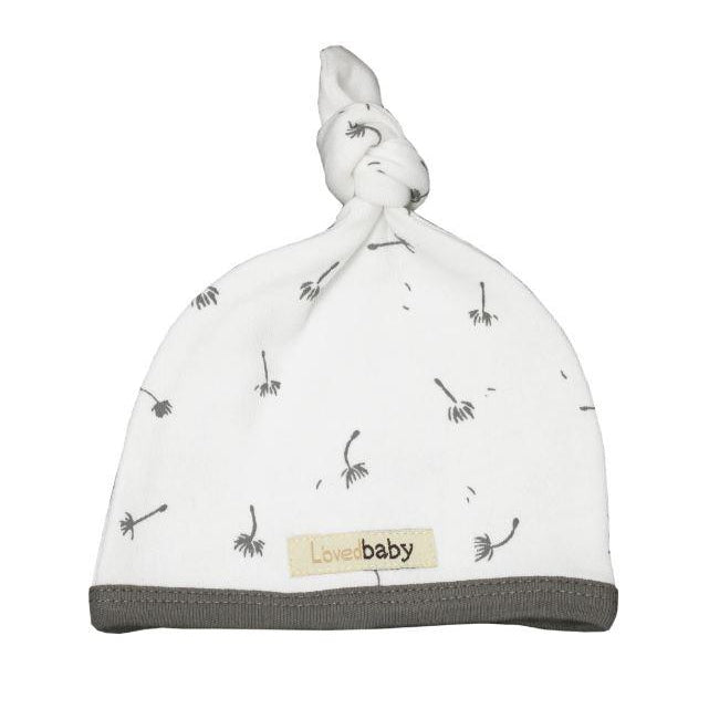 L'oved Baby Organic Top-Knot Hat Gray Dandelion-Accessories - Hats-Loved Baby-NB-Eden Lifestyle