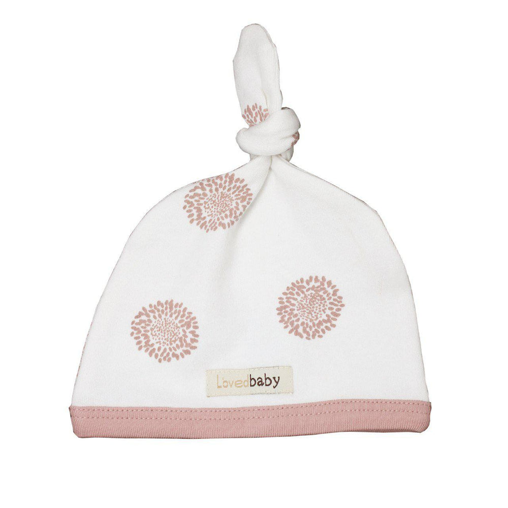 L'oved Baby Organic Top-Knot Hat Mauve Sunflower-Accessories - Hats-Loved Baby-NB-Eden Lifestyle
