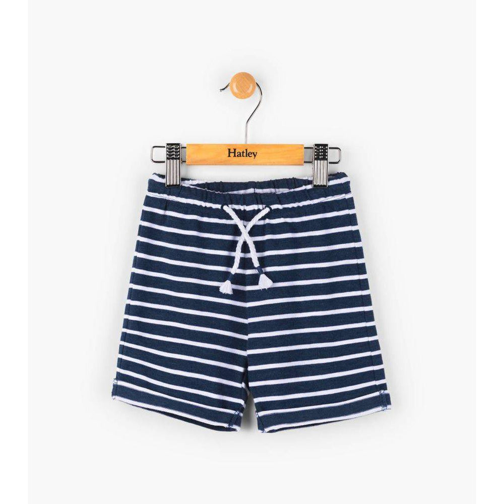 Hatley, Baby Girl Apparel - Shorts,  Hatley Navy Stripe Mini Pull-on Shorts