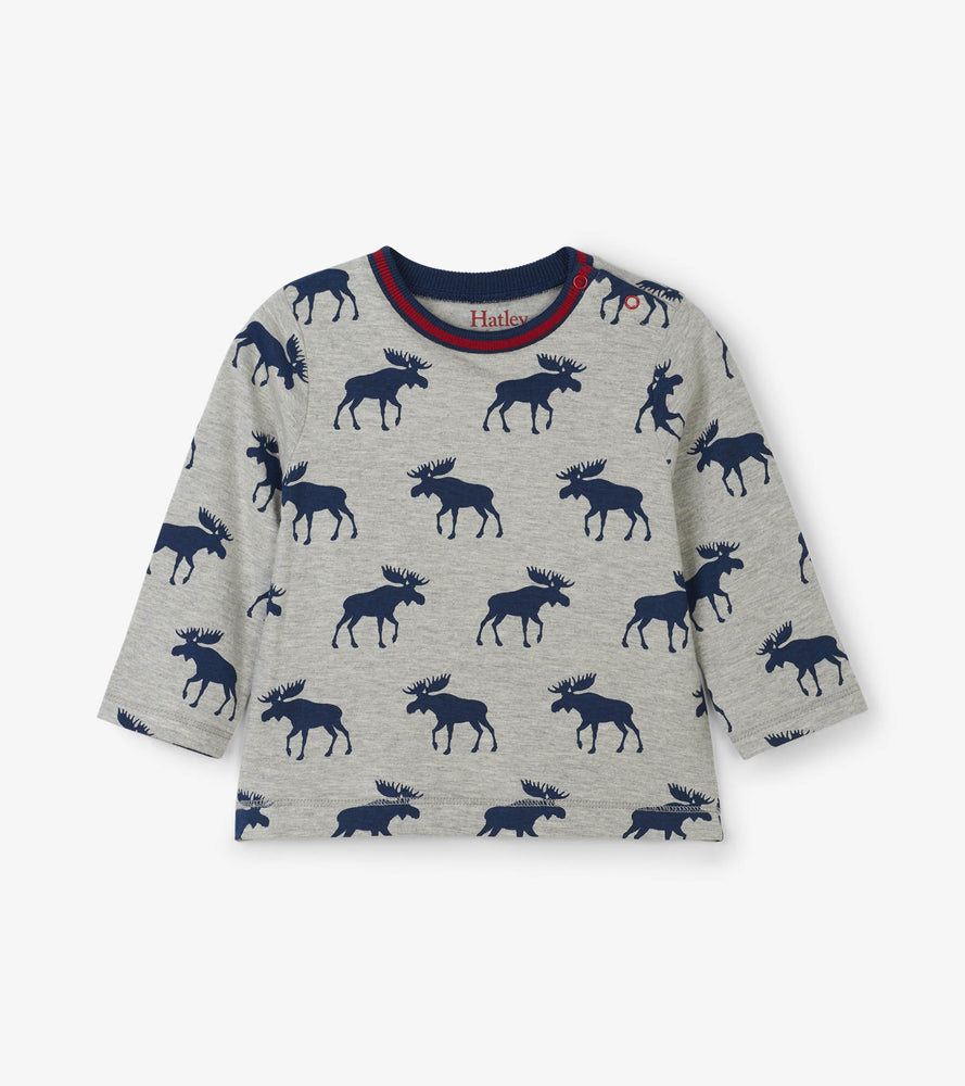 Hatley, Baby Boy Apparel - Tees,  Hatley Moose Silhouettes Long Sleeve Baby Tee
