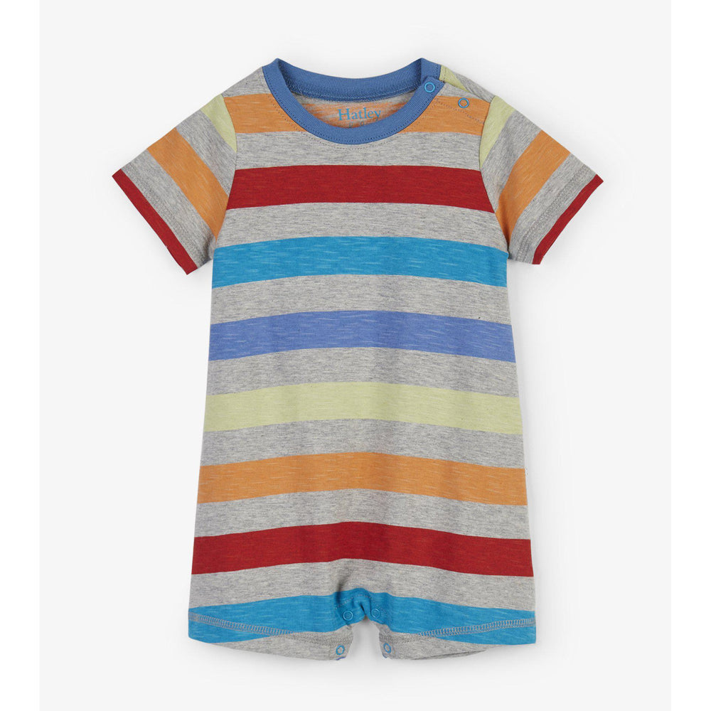 Hatley Rainbow Stripes Romper-Baby Boy Apparel - Rompers-Hatley-6-9M-Eden Lifestyle