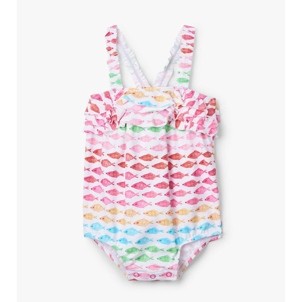 Hatley Watercolour Fishies Baby Ruffle Swimsuit-Baby Girl Apparel - Swimwear-Hatley-3-6M-Eden Lifestyle