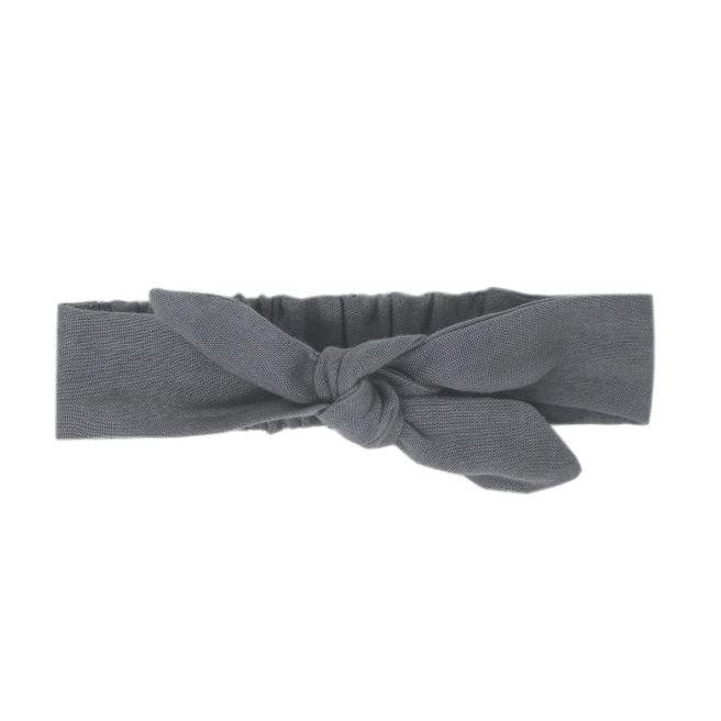 L'oved Baby Organic Muslin Tie Headband in Gray-Accessories - Bows & Headbands-Loved Baby-0-6M-Eden Lifestyle