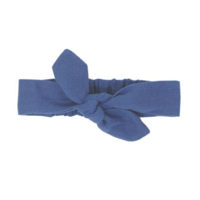 L'oved Baby Organic Muslin Tie Headband in Slate-Accessories - Bows & Headbands-Loved Baby-0-6M-Eden Lifestyle